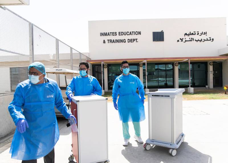 DUBAI, UNITED ARAB EMIRATES. 22 JULY 2020. Nurses take medication to the inmates at Al Awir Central Jail.(Photo: Reem Mohammed/The National)Reporter:Section: