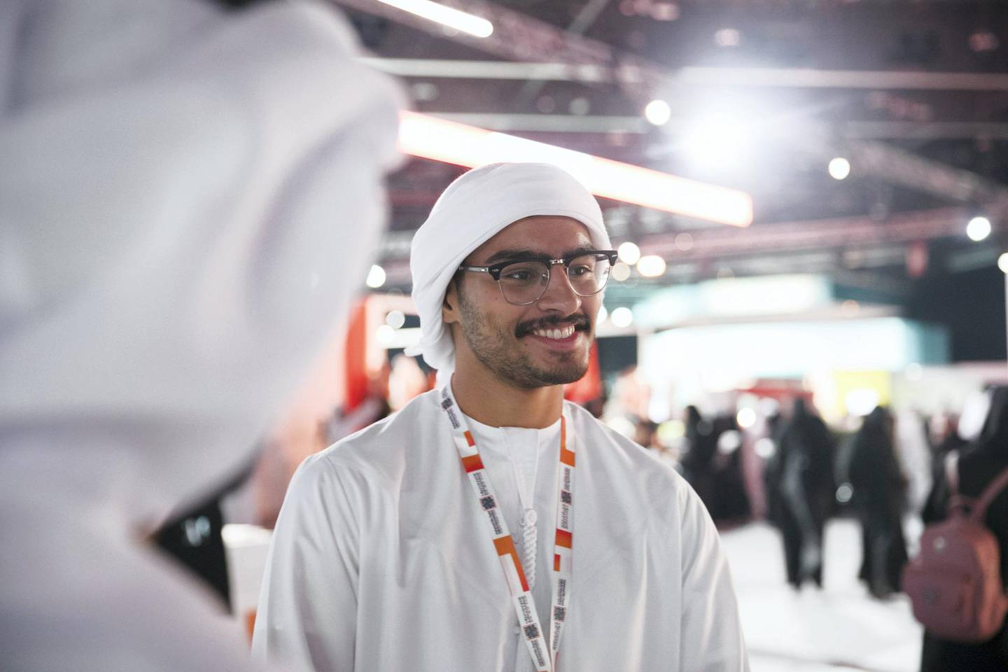 ABU DHABI, UNITED ARAB EMIRATES - OCTOBER 08, 2018. Abdulaziz Anwar Al Raeesi, 19, at Mohammed Bin Zayed Council for Future Generations sessions, held at ADNEC.(Photo by Reem Mohammed/The National)Reporter: SHIREENA AL NUWAIS + ANAM RIZVISection:  NA