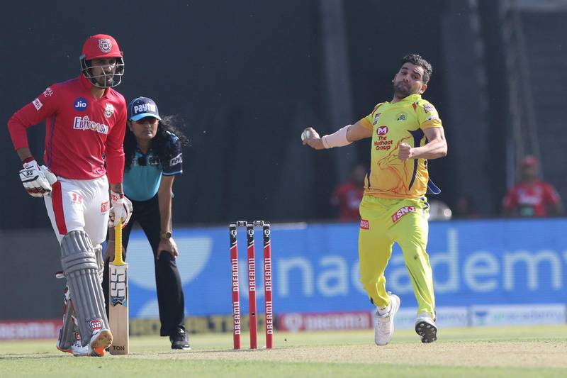 Deepak Chahar of Chennai Superkings   bowls during match 53 of season 13 of the Dream 11 Indian Premier League (IPL) between the Chennai Super Kings and the Kings XI Punjab at the Sheikh Zayed Stadium, Abu Dhabi  in the United Arab Emirates on the 1st November 2020.  Photo by: Pankaj Nangia  / Sportzpics for BCCI