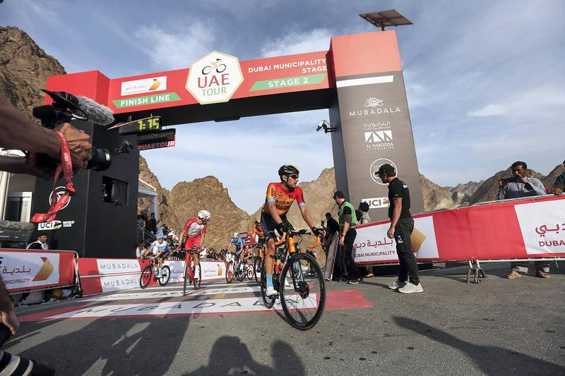 HATTA, February, 24, 2020: Cyclist at the finish line of  the second stage during the UAE Tour 2020 race in Hatta  . Satish Kumar/ For the National/  Story Amit Pasella
