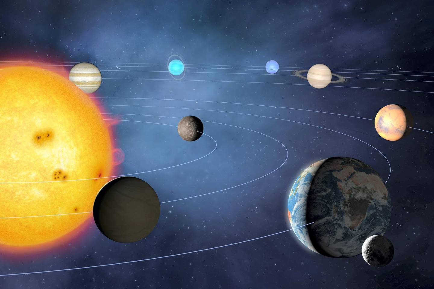 Illustration of the solar system, showing the paths of the eight major planets as they orbit the Sun. The four inner planets are, from inner to outer, Mercury, Venus, Earth and Mars. The four outer planets are, inner to outer, Jupiter, Saturn, Uranus and Neptune.