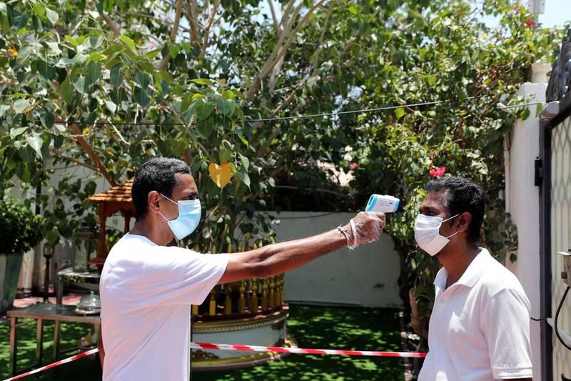 Dubai, United Arab Emirates - Reporter: N/A. News. Mahamevnawa Buddhist Temple in Dubai with their Covid-19 prevention measures. Tuesday, June 30th, 2020. Dubai. Chris Whiteoak / The National