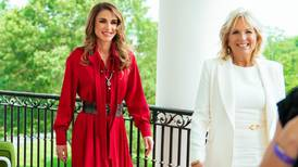 Queen Rania is regal in red as she meets first lady Jill Biden at the White House