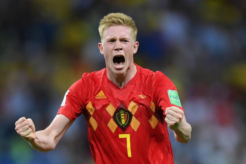 KAZAN, RUSSIA - JULY 06:  Kevin De Bruyne of Belgium celebrates following his sides victory in the 2018 FIFA World Cup Russia Quarter Final match between Brazil and Belgium at Kazan Arena on July 6, 2018 in Kazan, Russia.  (Photo by Shaun Botterill/Getty Images)