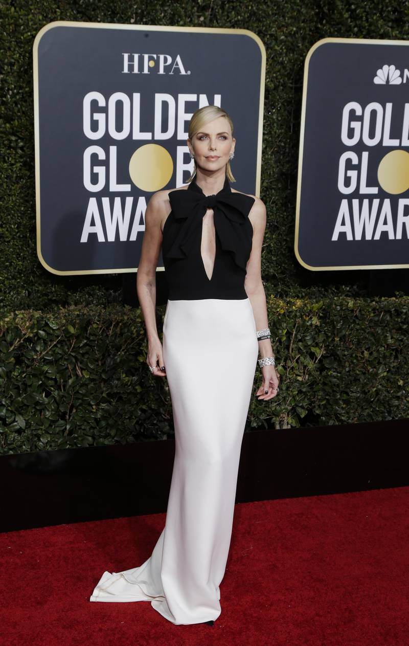 epa07266640 Charlize Theron arrives for the 76th annual Golden Globe Awards ceremony at the Beverly Hilton Hotel, in Beverly Hills, California, USA, 06 January 2019.  EPA-EFE/MIKE NELSON