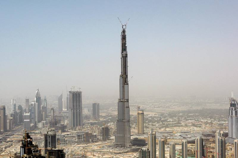 DUBAI, UNITED ARAB EMIRATES - May 7, 2008: The Burj Dubai and the skyline ( aerial view ) seen from a helicopter. ( Ryan Carter / The National ) *** Local Caption ***  RC022-AerialsDubai.JPGRC022-AerialsDubai.JPG