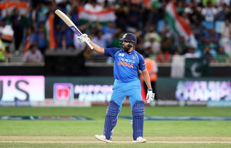 DUBAI , UNITED ARAB EMIRATES, September 19 , 2018 :- Rohit Sharma , captain of Indian team after scoring his half century during the Asia Cup UAE 2018 cricket match between Pakistan vs India held at Dubai International Cricket Stadium in Dubai. ( Pawan Singh / The National )  For Sports. Story by Paul