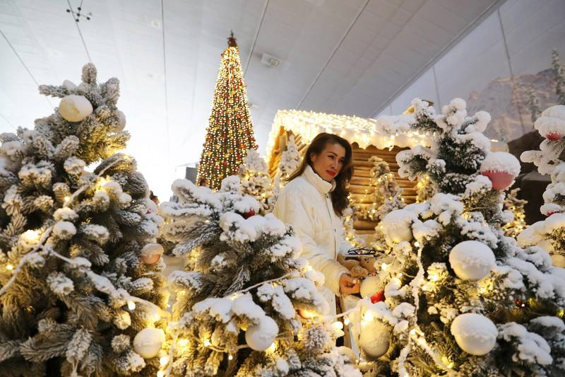 DUBAI , UNITED ARAB EMIRATES , November 26 –  Christmas decoration at the Winter Wonderland in Ski Dubai at Mall of the Emirates in Dubai. Winter Wonderland will open to the public on 1st of December. ( Pawan Singh / The National ) For News/Online/Standalone/Instagram/Big Picture