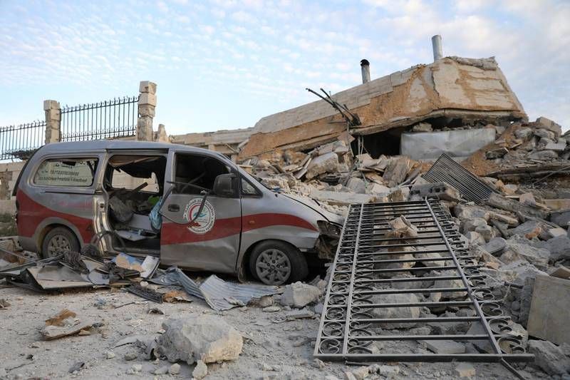 A picture taken on May 5, 2019 shows destruction at the entrance of a hospital in the village of Kafr Nabl, south of the jihadist-held Syrian province of Idlib. - Two hospitals in the Syrian province of Idlib, were put out of service by Russian air strikes according to the Syrian Observatory for Human Rights (OSDH). (Photo by OMAR HAJ KADOUR / AFP)