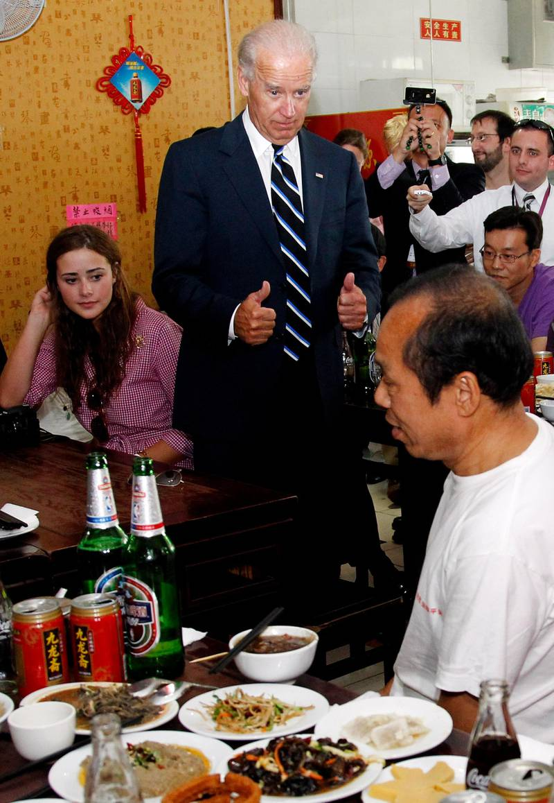 BEIJING, CHINA - AUGUST 18:  U.S. Vice President Joseph Biden and granddaughter  Naomi Biden at a local restaurant on August 18, 2011 in Beijing, China. Biden will visit China, Mongolia and Japan from August 17-25.  (Photo by Ng han Guan-Pool/Getty Images)