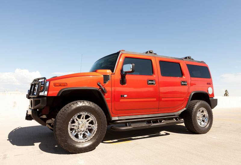 Scottsdale, United States - August 25, 2011: A photo of a parked Hummer H2. The H2 is the predecessor to the well known military used Hummer H1.