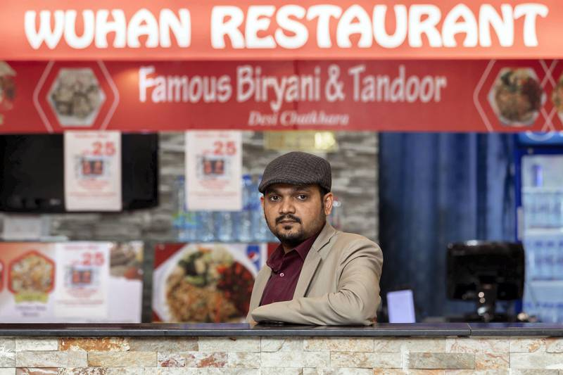 Sharjah, United Arab Emirates - March 09, 2020: Owner Mohammed Younus Aziz. Chinese restaurants in UAE see decline in sales due to coronavirus outbreak. Monday, March 9th, 2020 in Sharjah. Chris Whiteoak / The National