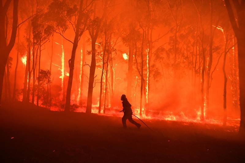 epa08007630 RFS volunteers and NSW Fire and Rescue officers protect the Colo Heights Public School from being impacted by the Gospers Mountain fire near Colo Heights south west of Sydney, Australia, 19 November 2019.  EPA/DEAN LEWINS AUSTRALIA AND NEW ZEALAND OUT