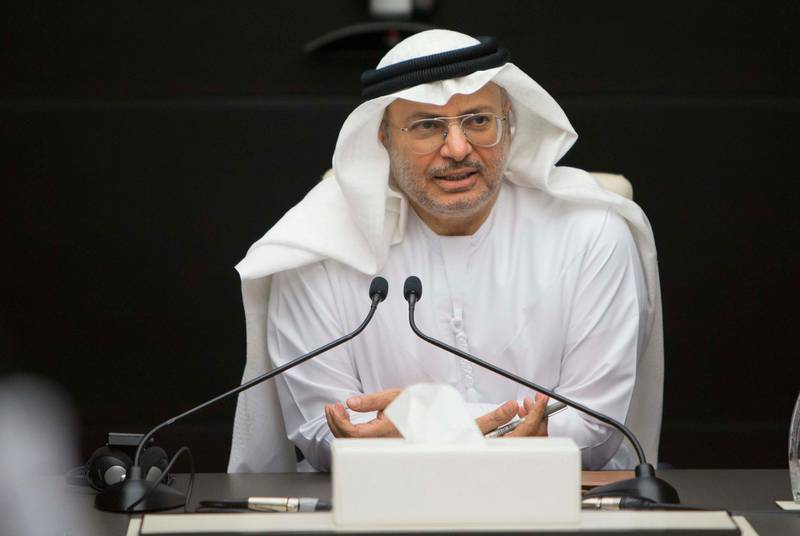 DUBAI, UNITED ARAB EMIRATES - Anwar Gargash, Minister of State for Foreign Affairs speaking at the Foreign Minister in Dubai. Ruel Pableo for The National