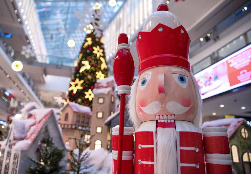 Abu Dhabi, United Arab Emirates, December 17, 2020.   The Festive Season Winter Wonderland display is now up at the lobby of the Abu Dhabi Mall to greet shoppers a Happy Holiday.Victor Besa/The NationalSection:  NAFor:  Standalone/Stock/Weather