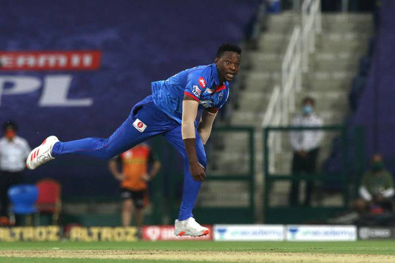 Kagiso Rabada of Delhi Capitals  bowls bowled during match 11 of season 13 of Indian Premier League (IPL) between the Delhi Capitals and the Sunrisers Hyderabadheld at the Sheikh Zayed Stadium, Abu Dhabi  in the United Arab Emirates on the 29th September 2020.  Photo by: Pankaj Nangia  / / Sportzpics for BCCI