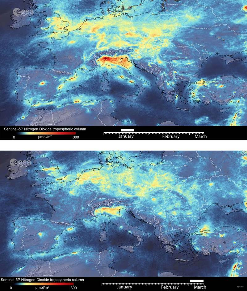 A combination of two animated images show the fluctuation of nitrogen dioxide emissions across Europe from January 2020 until March 11, 2020. New data from the Copernicus Sentinel-5P satellite reveal the decline of air pollution, specifically nitrogen dioxide emissions, over Italy.  This reduction is particularly visible in northern Italy which coincides with its nationwide lockdown to prevent the spread of the coronavirus, in this handout obtained by Reuters on March 13, 2020. European Space Agency/Handout via Reuters  THIS IMAGE HAS BEEN SUPPLIED BY A THIRD PARTY.