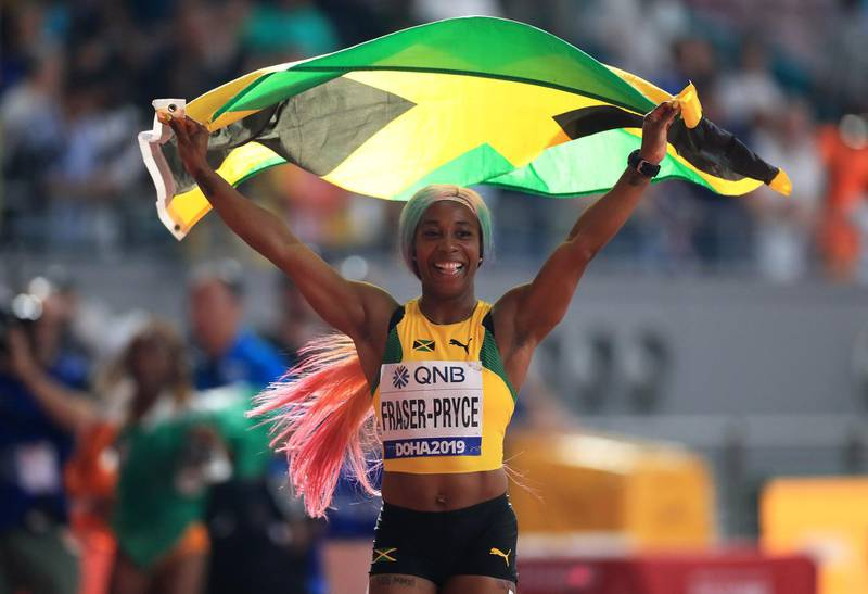 File photo dated 29-09-2019 of Jamaica's Shelly-Ann Fraser-Pryce celebrates the gold medal in the 100 Metres Women's Final during day three of the IAAF World Championships at The Khalifa International Stadium, Doha, Qatar. PA Photo. Issue date: Tuesday March 24, 2020. Having won 100m gold in Beijing and London, Fraser-Pryce had to settle for bronze in Rio as her younger team-mate Elaine Thompson took gold ahead of American Tori Bowie. But after taking time out to become a mother, Fraser-Pryce was right back at the top of her game at the World Championships in Doha last year as she won the 100m title and helped Jamaica to relay gold, becoming the oldest woman to win a 100m world title. Tokyo was to give her a chance at a third and surely final Olympic crown. See PA story SPORT Coronavirus Olympics Athletes. Photo credit should read Mike Egerton/PA Wire.