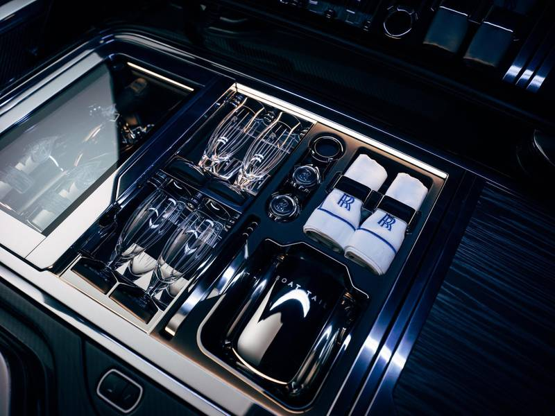 Rolls-Royce Boat Tail Hosting Suite with with champagne refridgerator. Courtesy Rolls-Royce