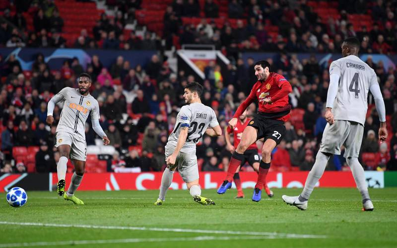 MANCHESTER, ENGLAND - NOVEMBER 27:  Marouane Fellaini of Manchester United (27) scores his team's first goal during the UEFA Champions League Group H match between Manchester United and BSC Young Boys at Old Trafford on November 27, 2018 in Manchester, United Kingdom.  (Photo by Laurence Griffiths/Getty Images)