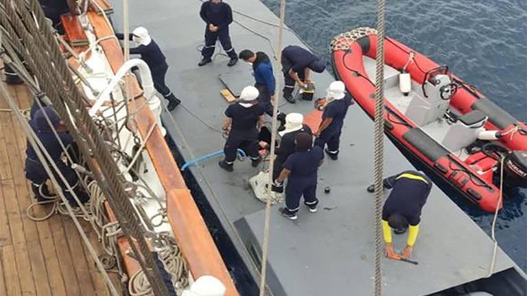 An image that illustrates this article Ecuador Navy sailing ship intercepts drug smuggling 'narco sub'
