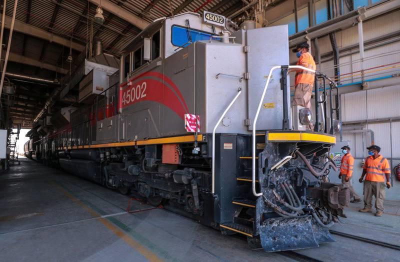 Abu Dhabi, United Arab Emirates, October 28, 2020.  Etihad Rail.Victor Besa/The NationalSection:  NAReporter:  Kelly Clarke