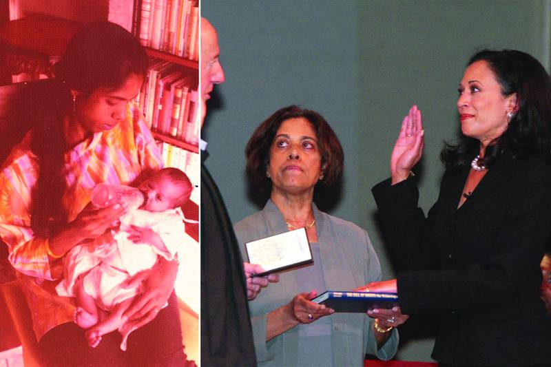Kamala Harris's mother Shyamala Gopalan holding her as a baby and watching her be sworn in San Francisco's new district attorney in 2004. AFP/ AP