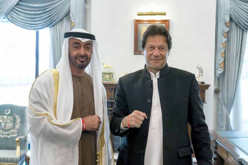 ISLAMABAD, PAKISTAN - January 06, 2019: HH Sheikh Mohamed bin Zayed Al Nahyan, Crown Prince of Abu Dhabi and Deputy Supreme Commander of the UAE Armed Forces (L), stands for a photograph with HE Imran Khan, Prime Minister of Pakistan (R), at the Prime Minister's residence.  ( Rashed Al Mansoori / Ministry of Presidential Affairs ) ---?