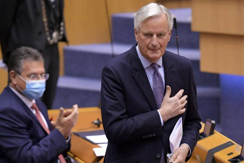 Head of the Task Force for Relations with the UK, Michel Barnier gestures during the debate on EU-UK trade and cooperation agreement during the second day of a plenary session at the European Parliament in Brussels, on April 27, 2021. / AFP / JOHN THYS