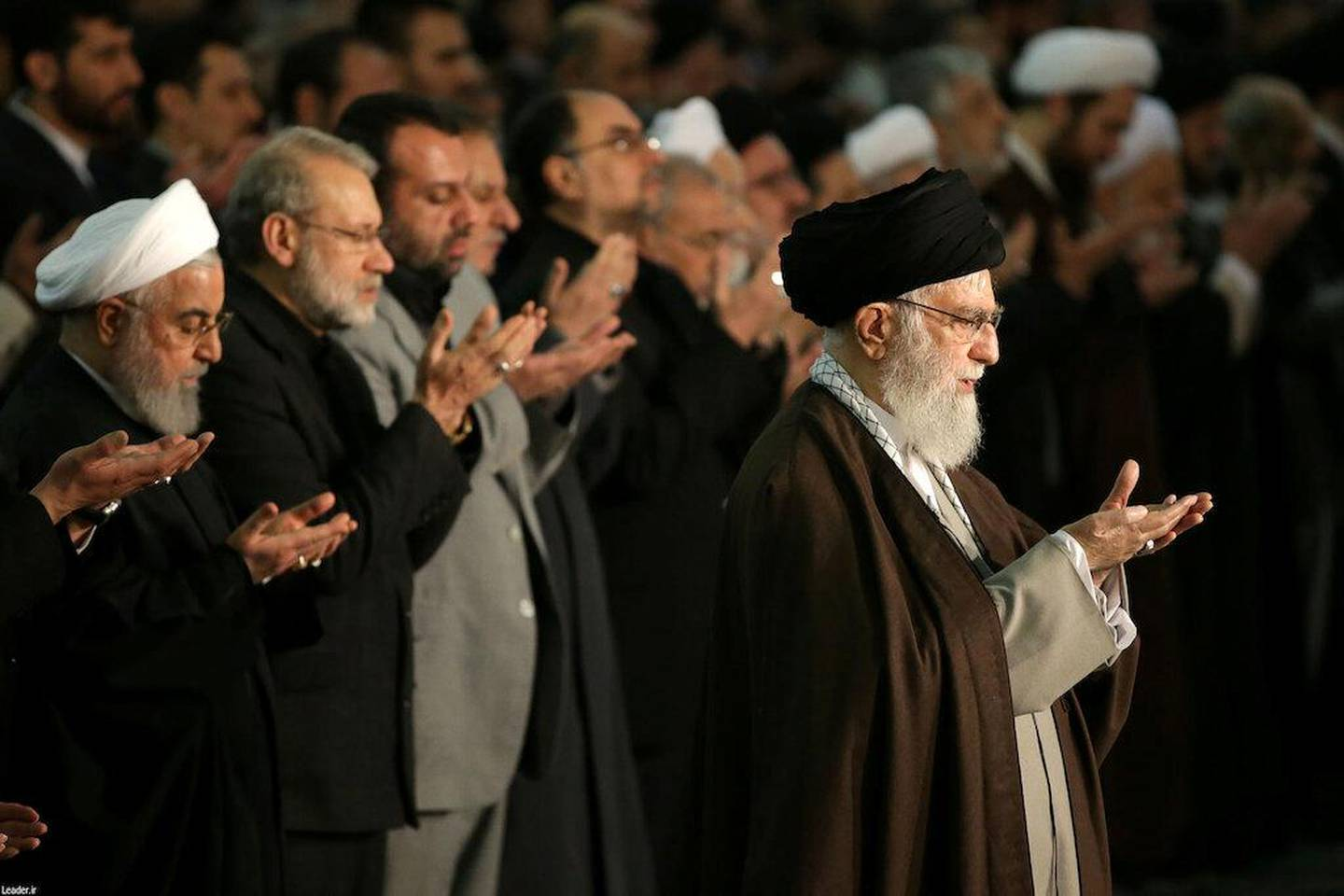 Iranian President Hassan Rouhani attends Friday prayers sermon led by the Iran's Supreme Leader Ayatollah Ali Khamenei, in Tehran, Iran January 17, 2020. Official Khamenei website/Handout via REUTERS ATTENTION EDITORS - THIS IMAGE WAS PROVIDED BY A THIRD PARTY. NO RESALES. NO ARCHIVES