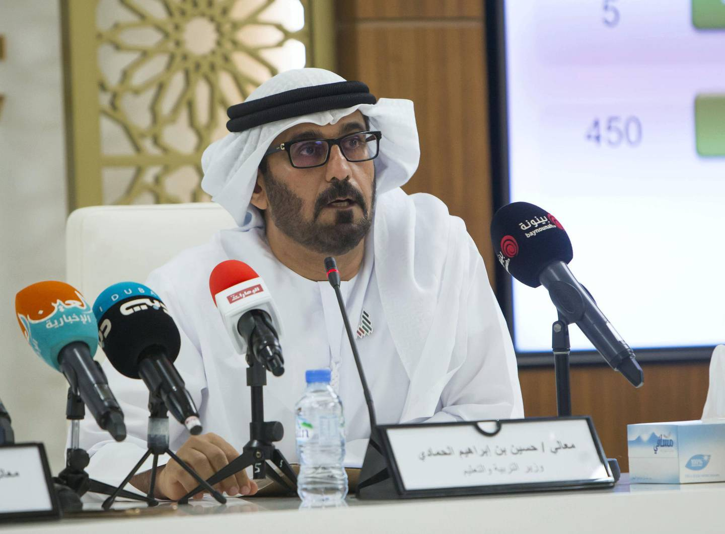 Abu Dhabi, United Arab Emirates-  Hassan Ibrahim Al Hammadi, Minister of Education at the briefing on corona virus at the National Emergency Crisis and Disaster Management Authority.   Leslie Pableo for The National
