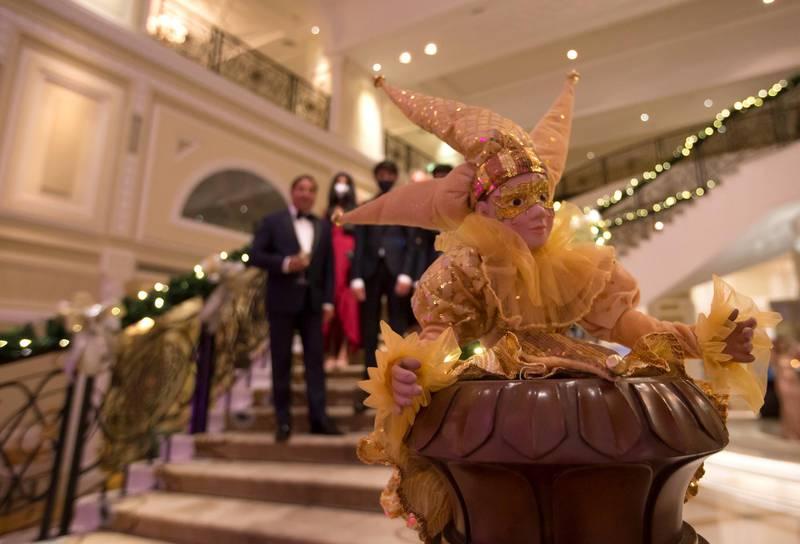 Ras Al Khaimah, United Arab Emirates: Family entering the lobby of  Waldorf Astoria, Al Hamra Island, RAK.  Leslie Pableo for The National