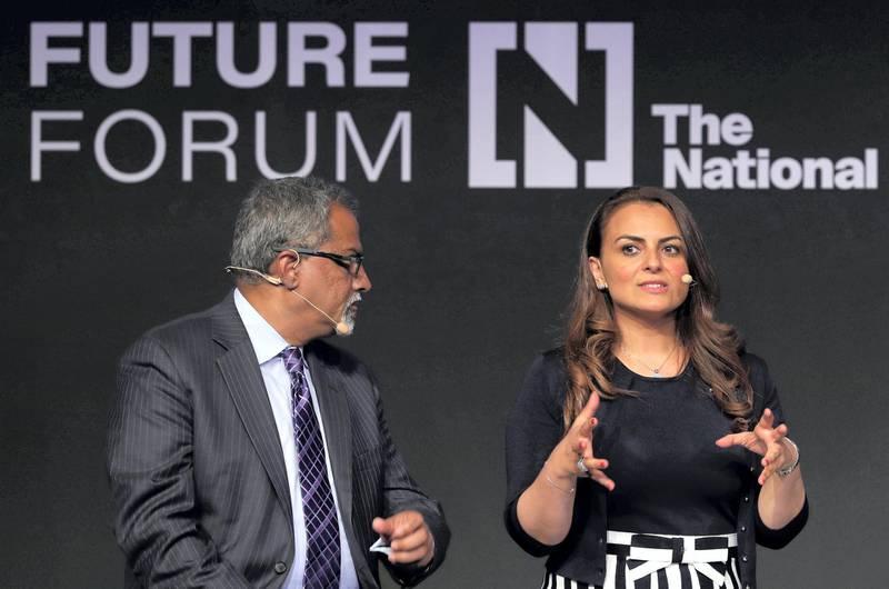 Abu Dhabi, United Arab Emirates - May 8th, 2018: L-R Raju Narisetti, Mina Al-Oraibi speak about the future of news at The National's Future Forum. Tuesday, May 8th, 2018 at Manarat Al Saadiyat, Abu Dhabi. Chris Whiteoak / The National