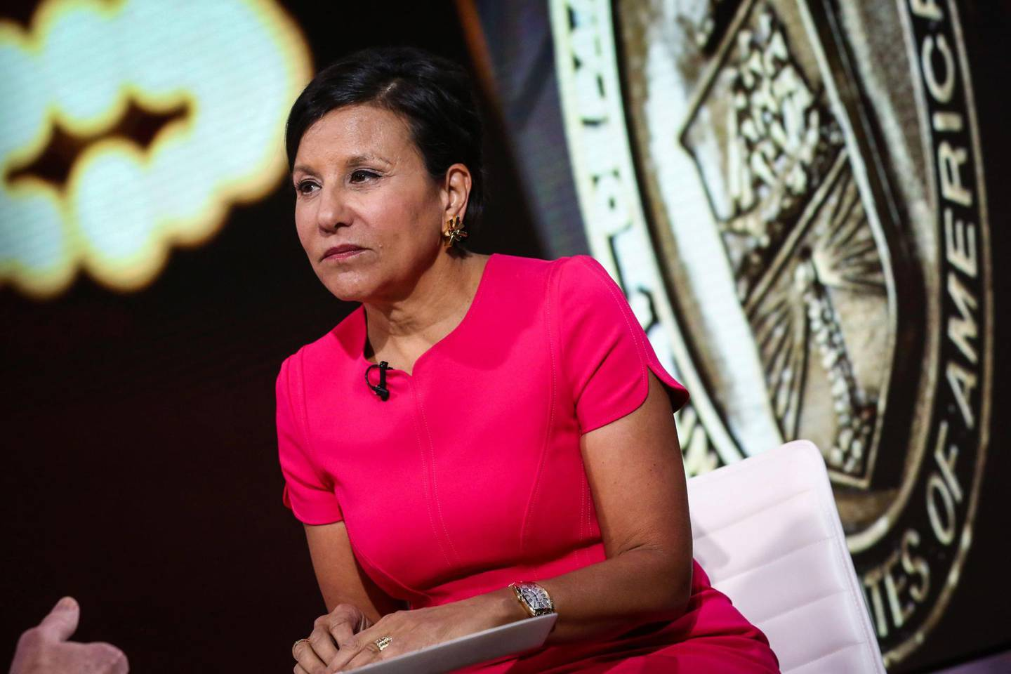 Penny Pritzker, Former U.S. Secretary of Commerce, speaks during a Bloomberg interview in New York, U.S., on Friday, May 12, 2017. Photographer: Christopher Goodney/Bloomberg