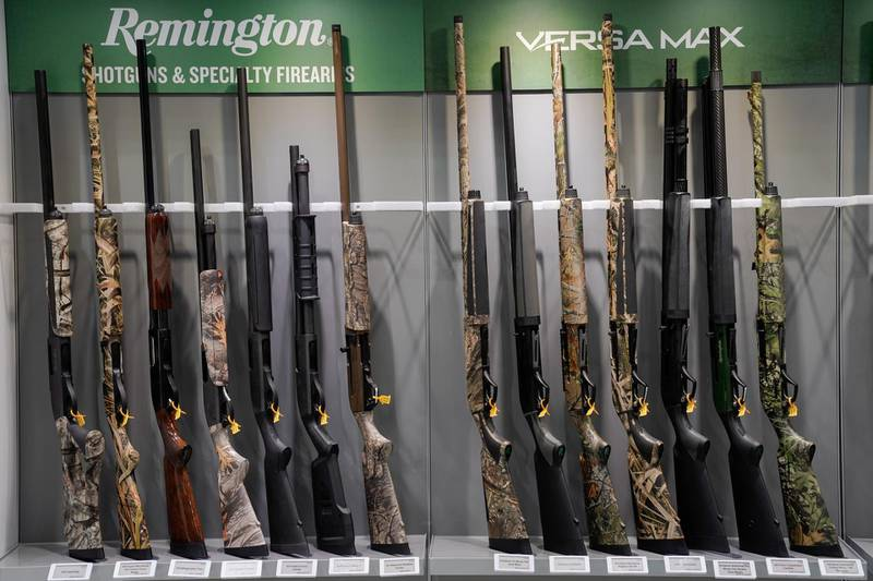 Remington firearms sit on a rack at the National Rifle Association's (NRA) annual meeting, in Indianapolis, Indiana, U.S., April 28, 2019.  REUTERS/Bryan Woolston