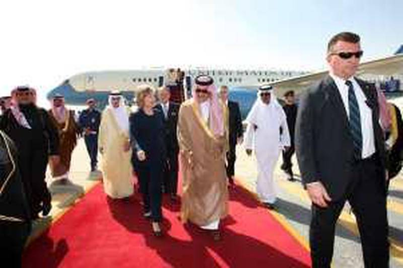 U.S. Secretary of State Hillary Rodham Clinton walks with Saudi foreign minister Prince Saud Al-Faisal, center right, upon her arrival at King Khalid International Airport in Riyadh, Saudi Arabia, Monday, Feb. 15, 2010. Clinton flew to Riyadh, Saudi Arabia, for a meeting with King Abdullah and a session with Saudi Foreign Minister Prince Saud al-Faisal. (AP Photo/Hassan Ammar) *** Local Caption ***  HAS101_Saudi_Arabia_US.jpg *** Local Caption ***  HAS101_Saudi_Arabia_US.jpg