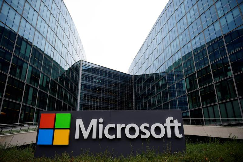 (FILES) In this file photo taken on November 27, 2017 the French headquarters of US multinational technology company Microsoft is seen in Issy-Les-Moulineaux, a Paris' suburb.  Microsoft on Friday said a hacker group linked to Iran unleashed cyber attacks on US journalists, government officials and accounts associated with a US presidential campaign. / AFP / Martin BUREAU
