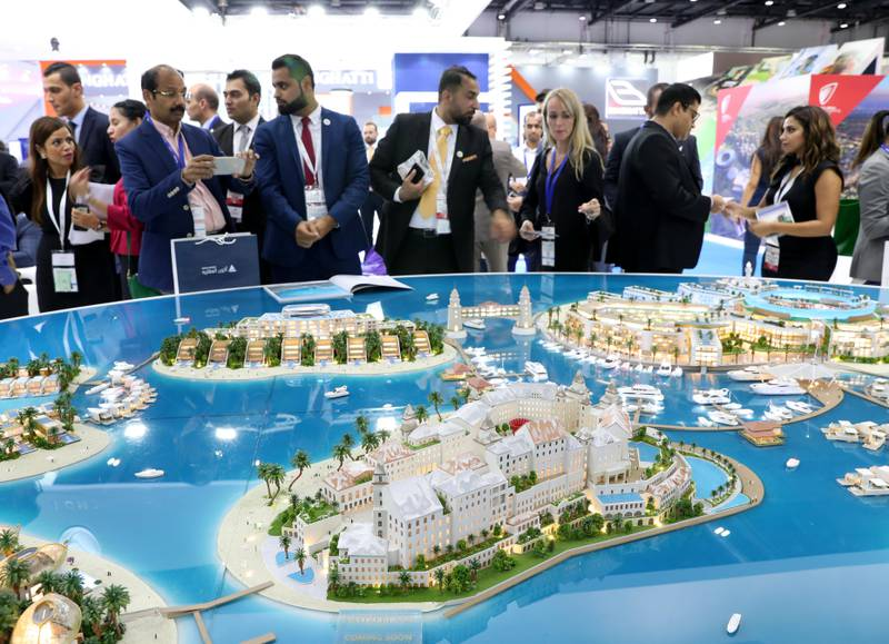 Dubai, United Arab Emirates - September 11th, 2017: Visitors at the Heart of Europe project by Kleindienst at the 16th addition of Cityscape Global. Monday, September 11th, 2017 at World Trade centre, Dubai.