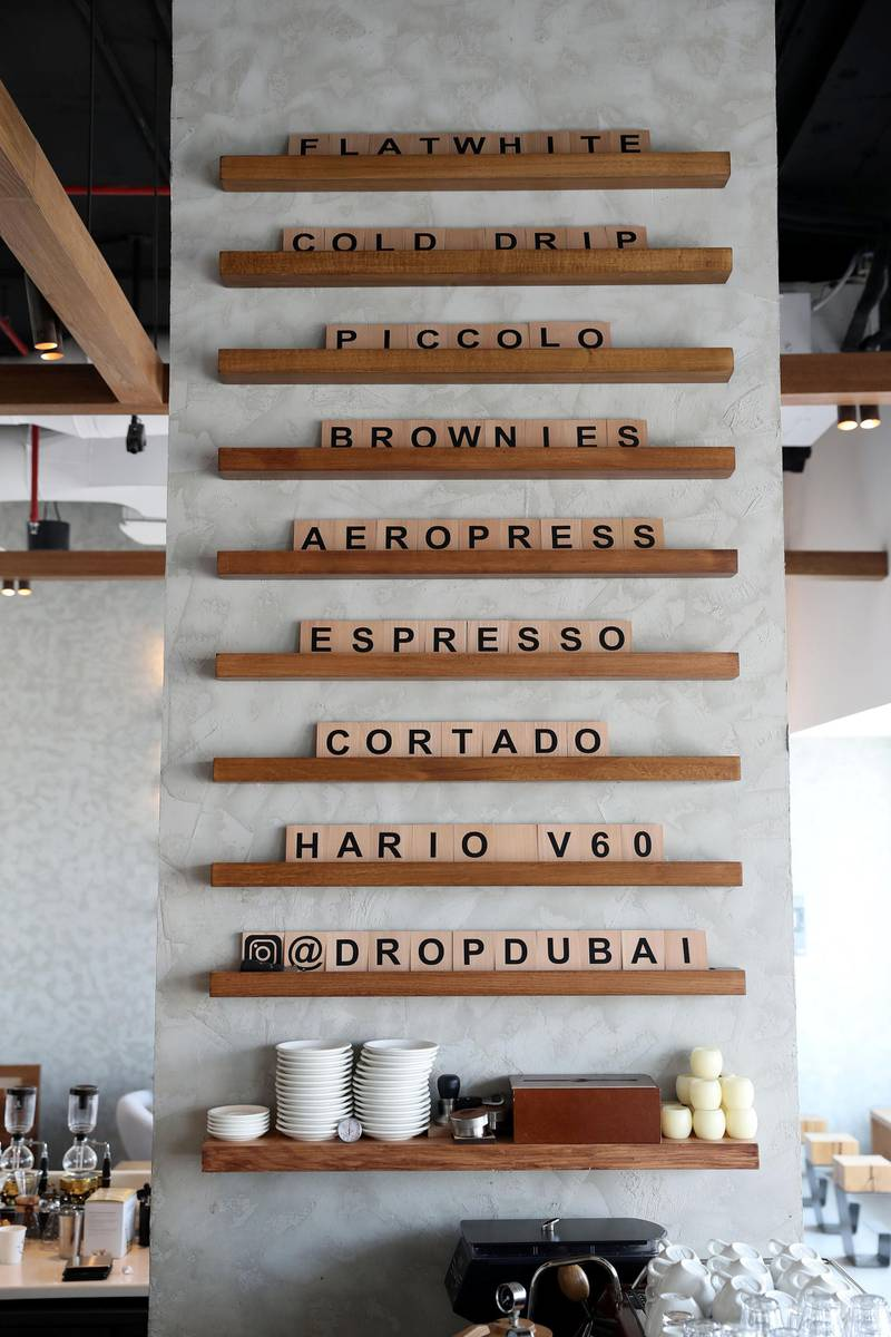 Dubai, United Arab Emirates - January 25th, 2018: ÔThe new wave of Emirati coffee cultureÕ Ð a look at the popularity of specialist coffee stores. Thursday, January 25th, 2018 at Drop, Dar Wasl, Dubai. Chris Whiteoak / The National