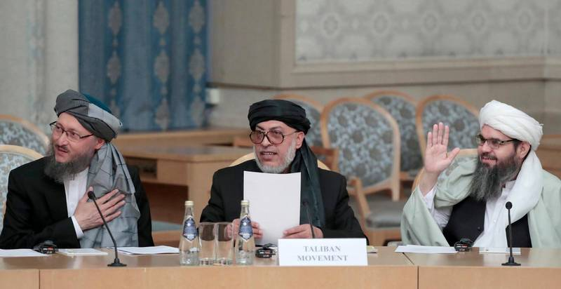 epa07349793 (FILE) - Representatives of the Afghan Taliban movement (L-R) Mullah Abdul Salam Hanafi, Sher Mohammad Abbas Stanikzai and Mullah Shahabuddin Delawar attend the Afghanistan peace settlement talks on the level of deputy foreign ministers in Moscow, Russia, 09 November 2018 (reissued 07 February 2019). Media reports, quoting Taliban official Abdul Salam Hanafi, state that the US had promised the Taliban -- on the sidelines of a meeting between the Taliban and Afghan figures in Moscow -- to withdraw 50 percent of its troops from Afghanistan by the end of April. The US military denied an immediate troop withdrawal saying that no timeframe had been set, media added. The withdrawal of foreign troops from Afghanistan was said to be a prerequisite for peace that Taliban leaders repeated during talks in Moscow.  EPA/SERGEI CHIRIKOV