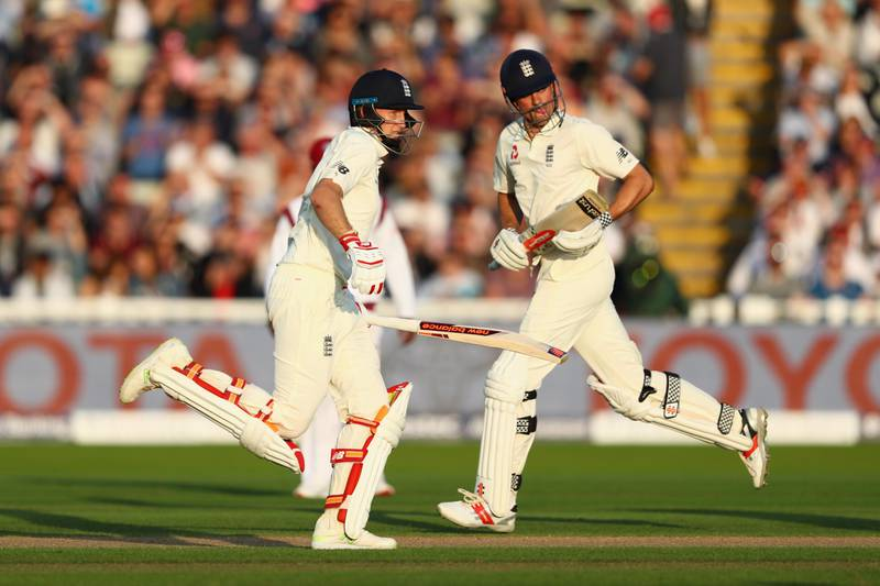 BIRMINGHAM, ENGLAND - AUGUST 17:  Joe Root (L) and Alastair Cook of England pile on the runs during day one of the 1st Investec Test match between England and West Indies at Edgbaston on August 17, 2017 in Birmingham, England.  (Photo by Michael Steele/Getty Images)
