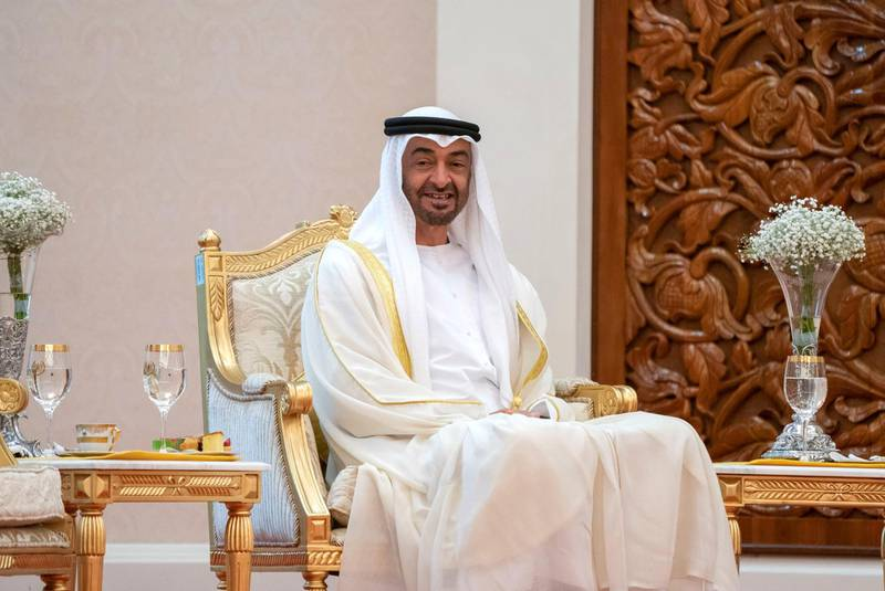 KUALA LUMPUR, MALAYSIA - July 30, 2019: HH Sheikh Mohamed bin Zayed Al Nahyan, Crown Prince of Abu Dhabi and Deputy Supreme Commander of the UAE Armed Forces (C) attends the inauguration of HM King Abdullah Ri'ayatuddin Al-Mustafa Billah Shah of Malaysia (not shown), at Istana Negara, the National Palace of Malaysia.( Rashed Al Mansoori / Ministry of Presidential Affairs )---