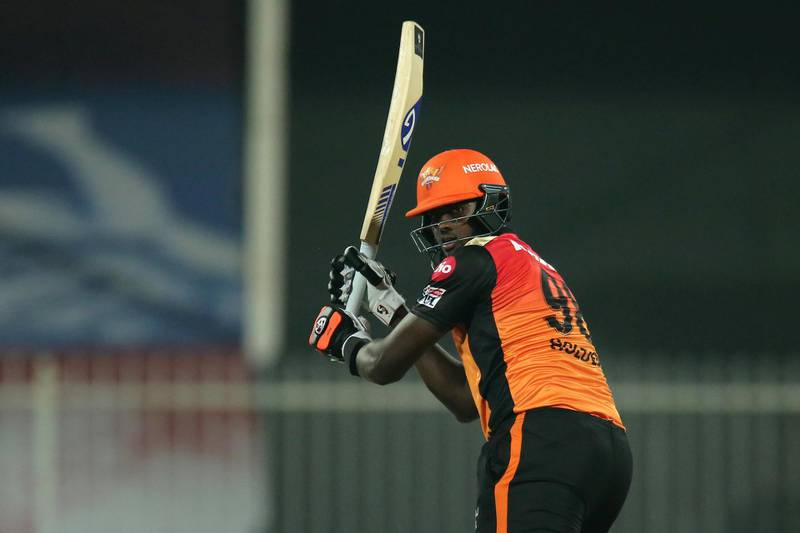 Jason Holder of Sunrisers Hyderabad bats during match 52 of season 13 of the Dream 11 Indian Premier League (IPL) between the Royal Challengers Bangalore and the Sunrisers Hyderabad held at the Sharjah Cricket Stadium, Sharjah in the United Arab Emirates on the 31st October 2020.  Photo by: Deepak Malik  / Sportzpics for BCCI