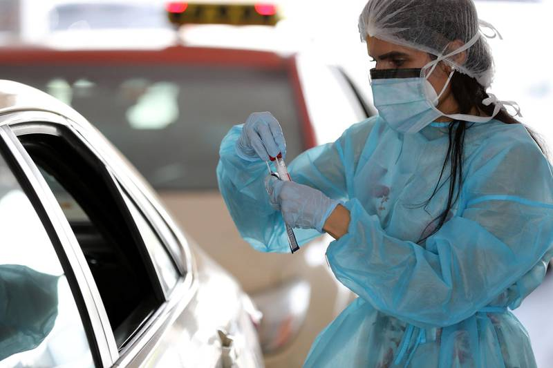 Dubai, United Arab Emirates - Reporter: N/A. Standalone. Covid-19/Coronavirus. People get tested for the coronavirus at the Mina Rashid screening center. Wednesday, September 2nd, 2020. Dubai. Chris Whiteoak / The National