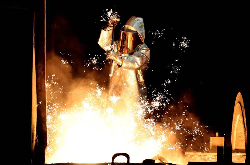 epa06851014 (FILE) - A steel worker takes a steel sample at blast furnace 8 of German corporation ThyssenKrupp in Duisburg, Germany, 17 January 2018 (reissued 30 June 2018). According to media reports on 30 June 2018, Germany's ThyssenKrupp AG and India's Tata Steel announced the creation of a new company, named Thyssenkrupp Tata Steel,  as part of a joint European venture. The deal create a company that will be Europe's second largest steel maker, with an estimated 15 billion Euro in revenue, but could also cause the loss of up to 4,000 jobs.  EPA/FRIEDEMANN VOGEL