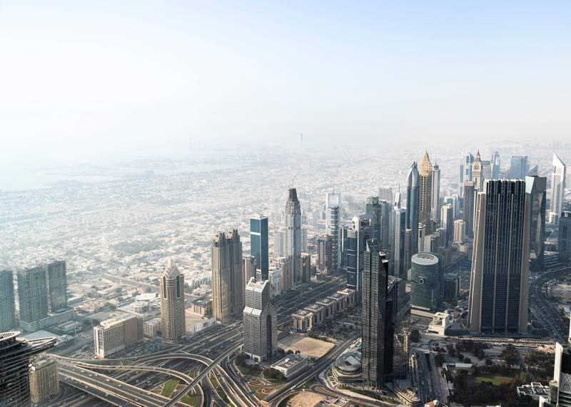 DUBAI, UNITED ARAB EMIRATES. 11 JUNE 2020. Dubai's skyline seen from At The Top, Burj Khalifa. (Photo: Reem Mohammed/The National)Reporter:Section: