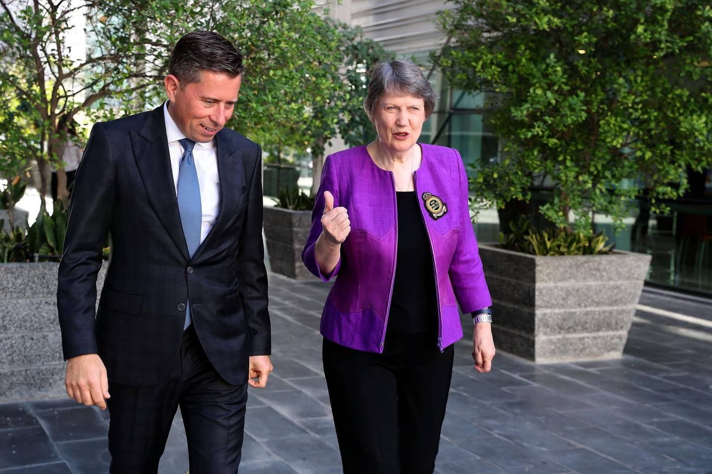 ABU DHABI , UNITED ARAB EMIRATES , Nov 17 – 2019 :- Helen Clark , former Prime Minister of New Zealand and Tom Fletcher , former UK Ambassador and a Visiting Professor at New York University at the Emirates Diplomatic Academy in Abu Dhabi. ( Pawan Singh / The National )  For News. Story by Tom Fletcher