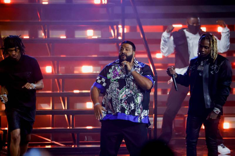 DJ Khaled performs during the BET Awards at Microsoft theatre in Los Angeles, California, U.S., June 27, 2021. REUTERS/Mario Anzuoni