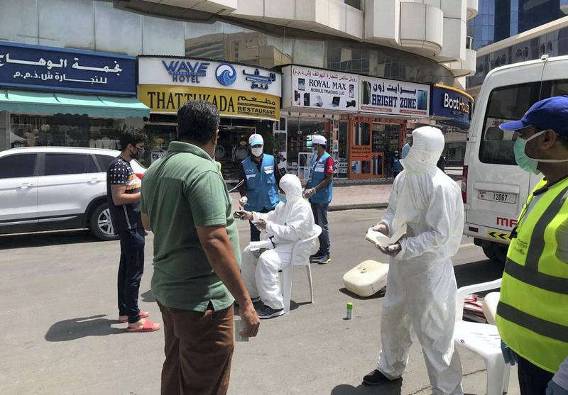 Patients being screened, tested for the coronavirus on a Dubai street corner in Naif. Courtesy: Medeor Hospital, Dubai