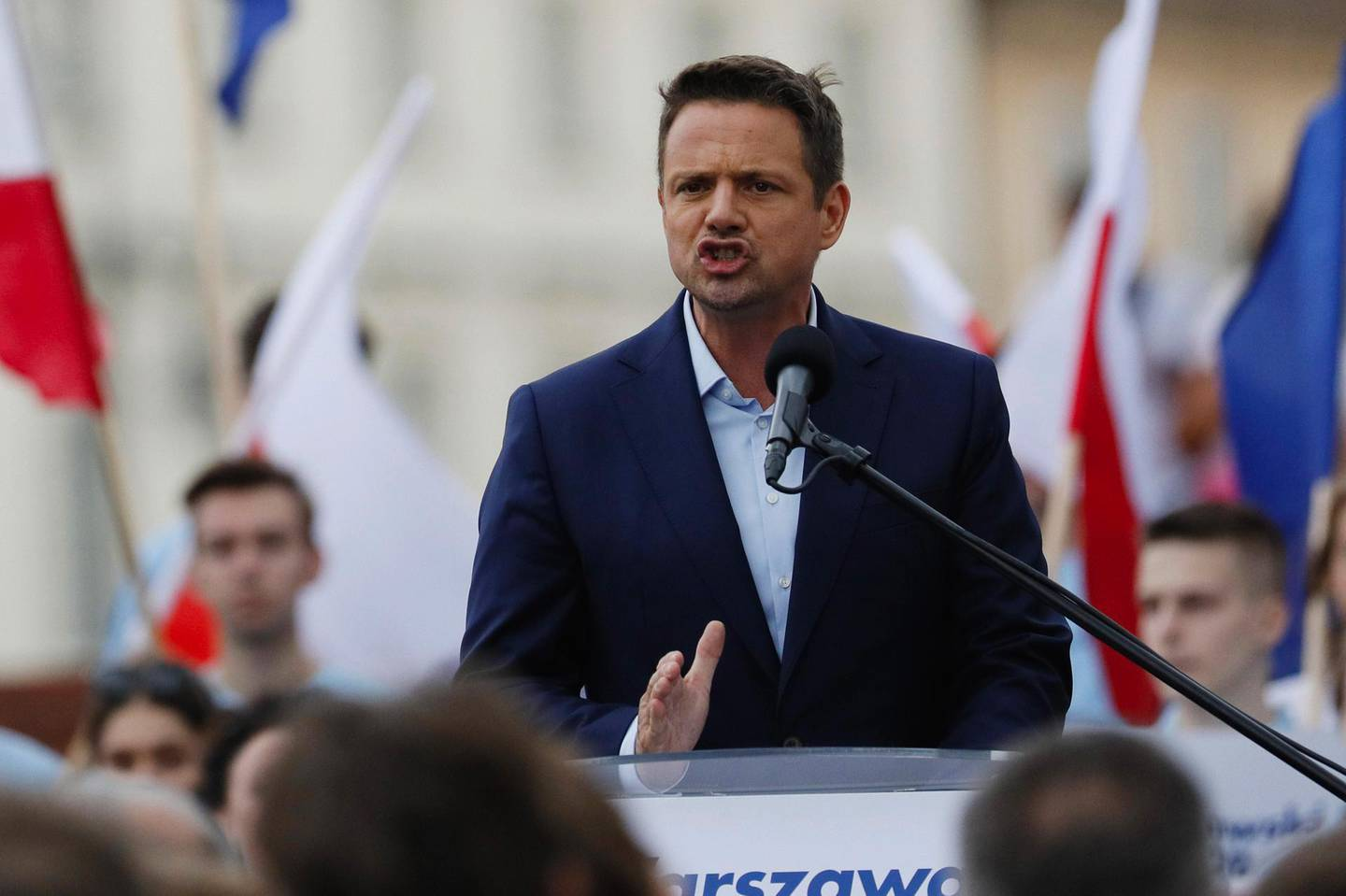 Rafal Trzaskowski, presidential candidate for the Civil Party and Mayor of Warsaw, speaks during a election campaign rally in Warsaw, Poland, on Friday, June 26, 2020. The vote, the first of two potential rounds, is a critical moment for a nation that until five years ago was hailed as a model of transformation from communism to a thriving democracy. Photographer: Piotr Malecki/Bloomberg
